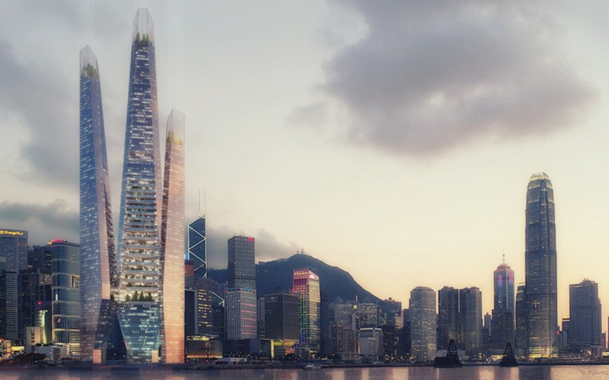Arcology Tower by Weston Williamson, Kissing Towers by Weston Williamson, urban agriculture Hong Kong, Hong Kong futuristic architecture, urban agriculture architecture,