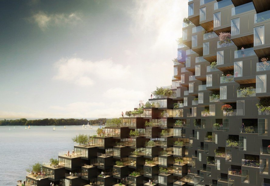 Bayside by ODA New York, Bayside building in Toronto, modular architecture in Toronto, twisted building maximizes views, pixelated architecture maximize views