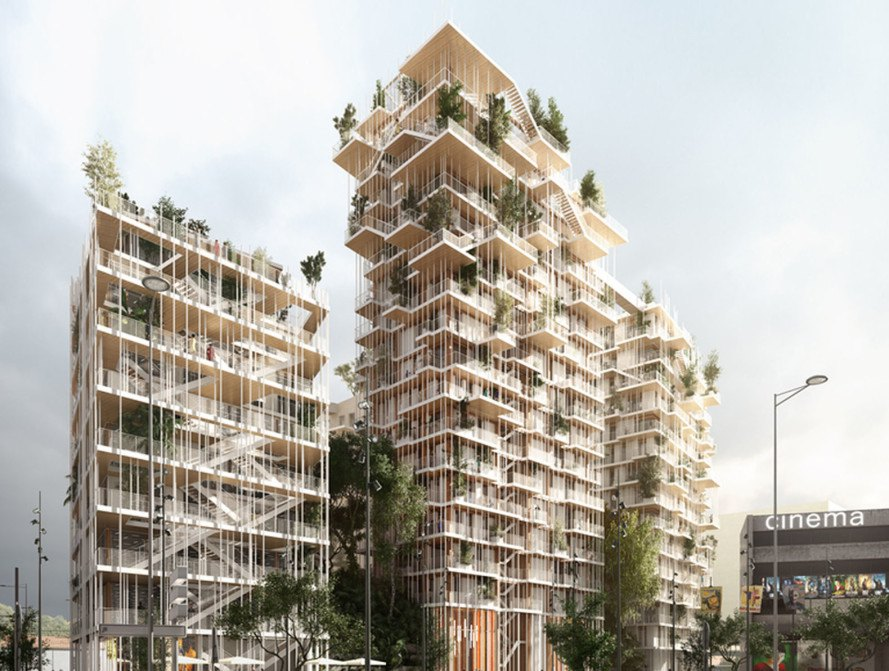 Sou Fujimoto Architects, Laisné Roussel, timber tower, green tower, wooden tower, France, cross-laminated timber, green architecture, vertical garden, elevated walkways