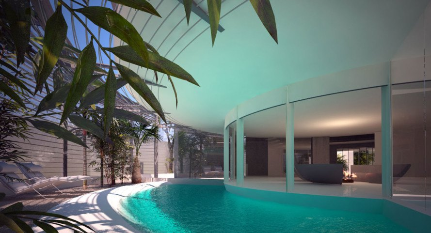 Circle House, Razvan Barsan + Partners, Romania, circular house, green architecture, concrete, swimming pool, greenhouse, marine creature, biomimicry, nature inspired, natural light