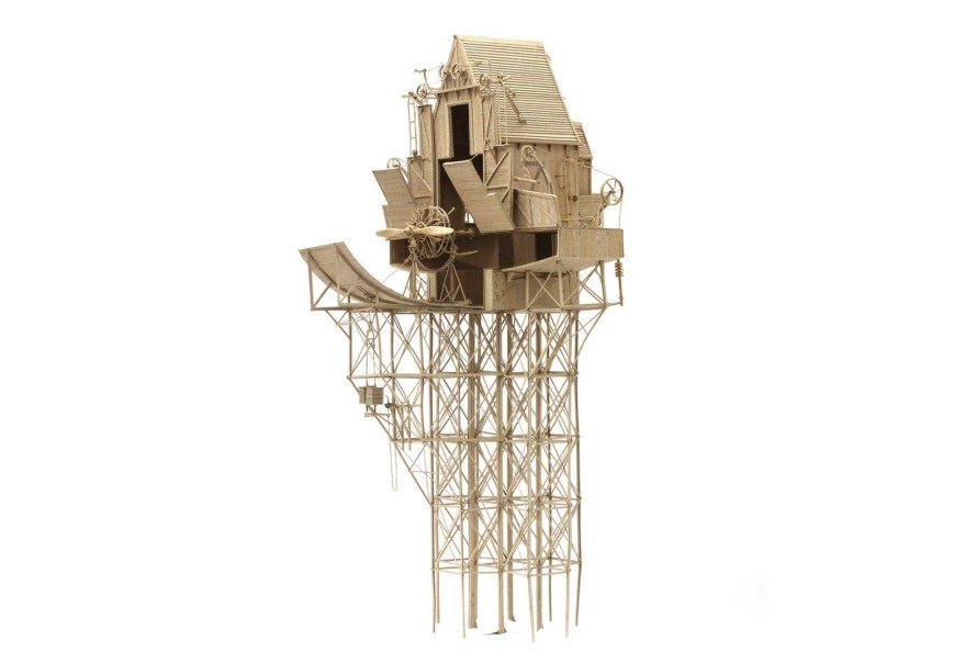 Daniel Agdag, intricate cardboard machines, unveiling objects mechanisms, cardboard sculpture, flying machines
