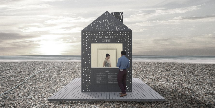 stargazer's cabin, george king architects, beach hut, constellation, night sky, led lights, eastbourne, english channel, stars, night stars