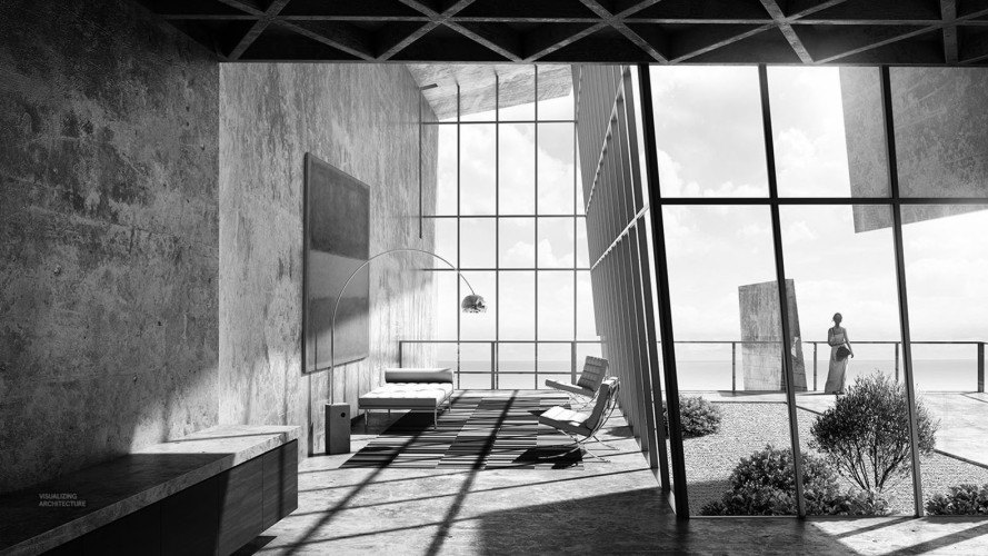 Alex Hogrefe, architectural visualization, Iceland Cliffside Retreat, concrete, green architecture, Iceland, natural light