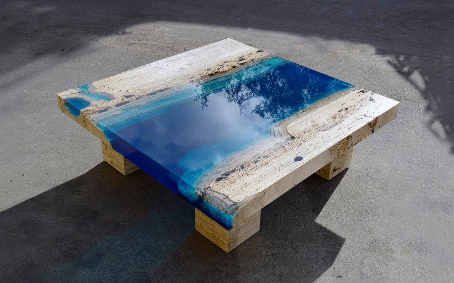 alexandre chapelin, lagoon 55, la table, resin table, coffee table, resin coffee table, blue resin, furniture, lagoon table