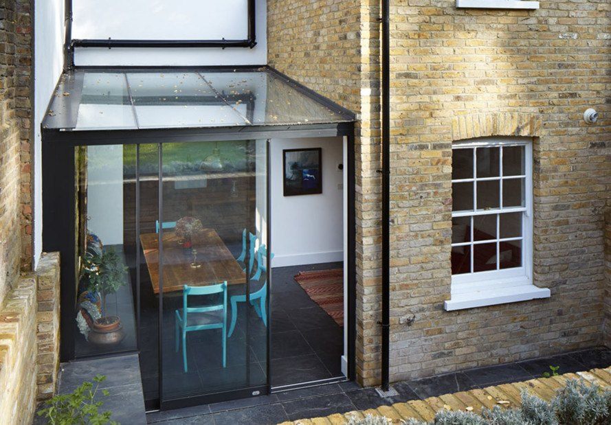 HÛT Architecture, Mile End Terrace, green extension, Victorian extension, London, glass facade, green renovation, green architecture, extension