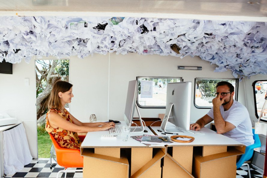 Mobile Office by Studio106, refold in mobile office, More than print in mobile office, retro events in mobile office, Akarana Marine Sports Center, mobile caravan by Studio106, caravan converted into office
