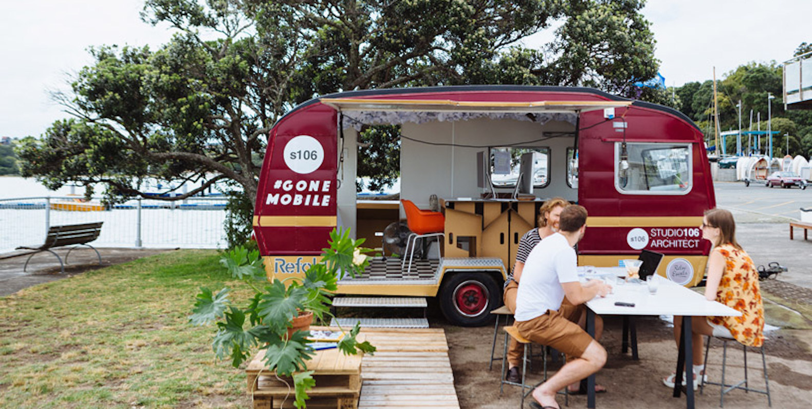 Architects escape into the great outdoors by transforming a retro caravan into a mobile office