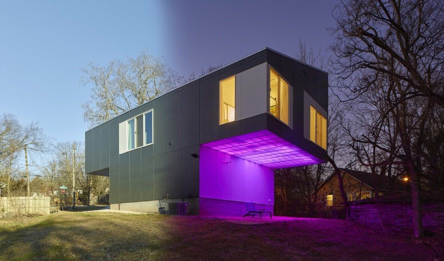 Mood Ring House by Silo AR+D, Mood Ring House, color changing house, color changing house in Arkansas, multicolored LEDs for house,