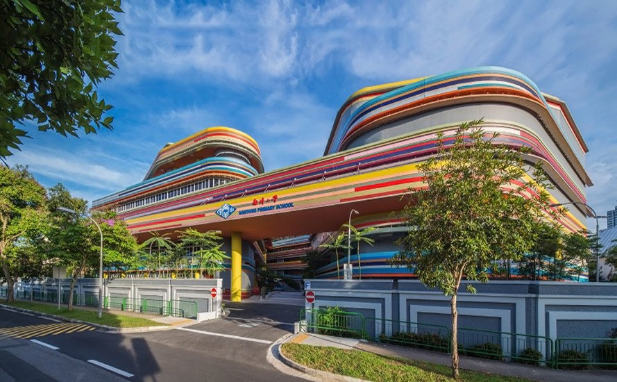 Nanyang Primary School and Kindergarten, primary school, green school, Singapore, undulating facade, green architecture, communal space, courtyard