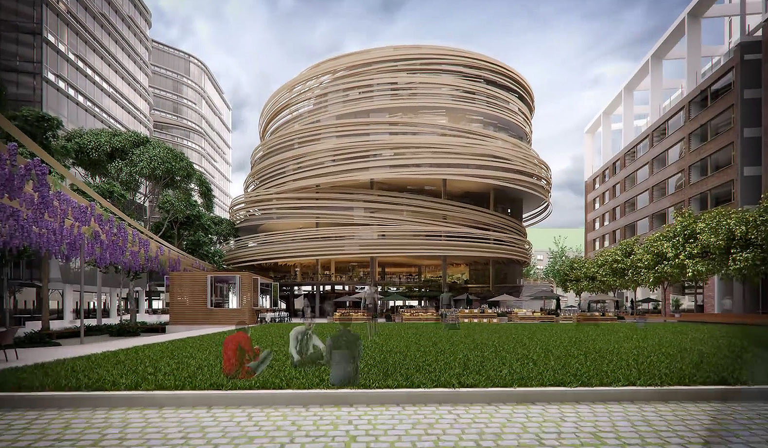Kengo Kuma unveils plans for spiraling timber-clad library ...