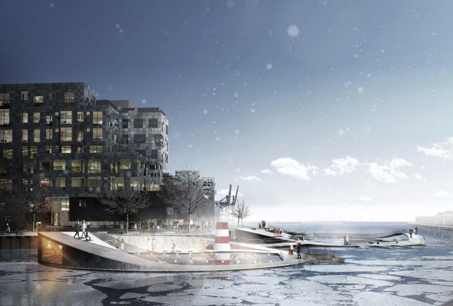 Nordhavn Islands by C.F. Møller Landscape, Copenhagen International School, Nordhavn development, aquatic landscape architecture