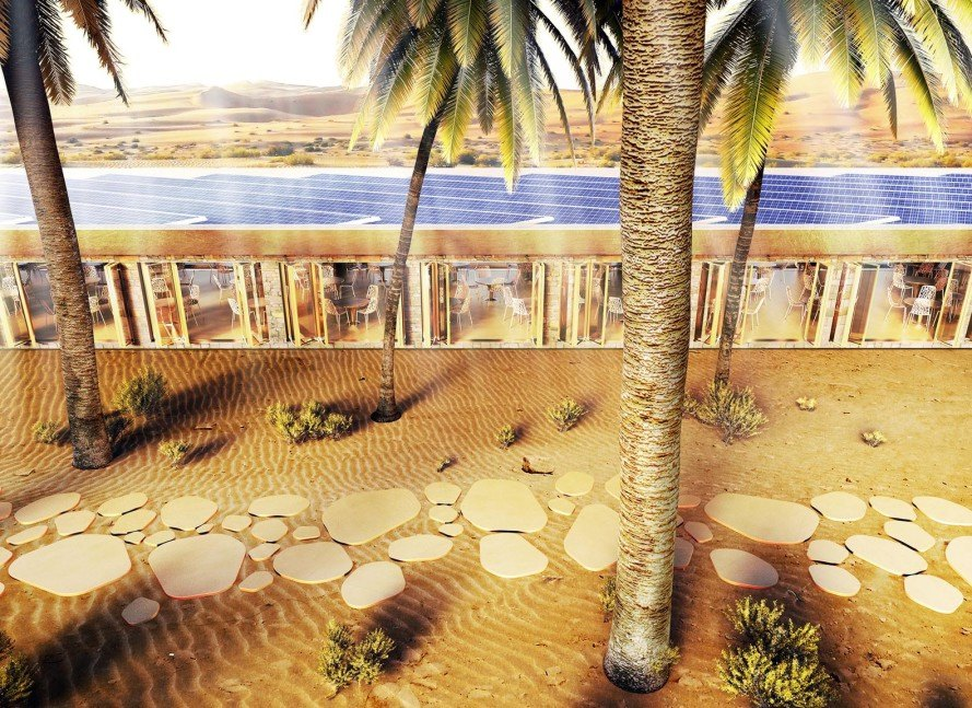 Baharash, Baharash Architecture, Oasis Eco Resort, Greenest Eco Resort in the World, Liwa Oasis, UAE desert resort, UAE eco resort, Liwa Oasis eco resort, solar-powered eco resort, solar-topped eco resort, green holidays UAE, green hotels UAE, green hotels UAE desert,