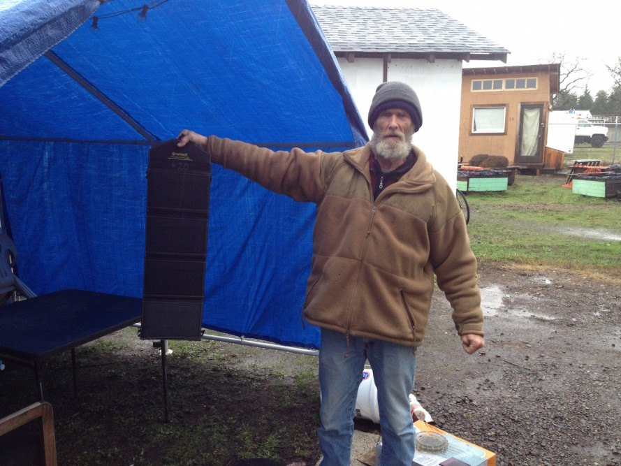 SunJack solar charger, solar-powered tiny house village, tiny house village, tiny house village for the homeless, Opportunity Village Eugene,