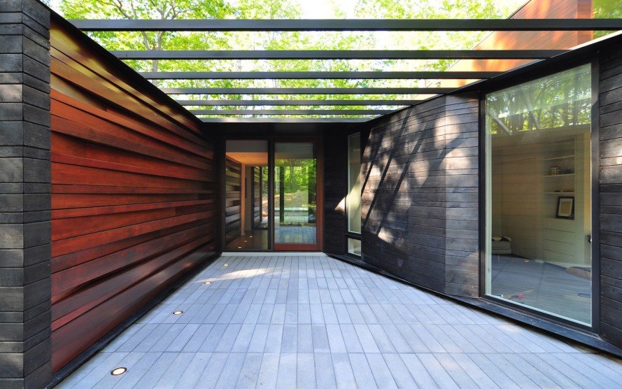 Pleated House by Johnsen Schemaling Architects, Wisconsin green roofed architecture, Door County architecture, charred timber architecture