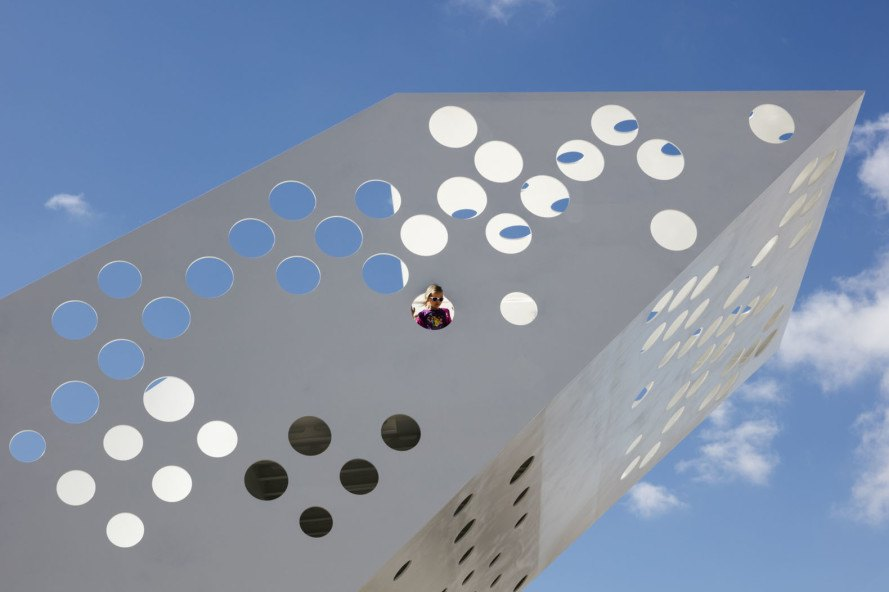 Sailing tower, viewing tower, Denmark, observation tower, Dorte Madrup Arkitekter, LED light, Danish architects, origami, urban sculpture, sculpture