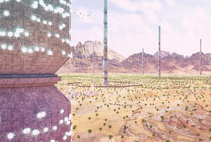 eVolo, 2016 eVolo Skyscraper competition, Valley of the Giants, North Africa, 1km tall towers in North Africa, 1km tall cylinders reseed the desert, skyscraper addresses desertification, skyscrapers helps water-scarcity in North Africa,