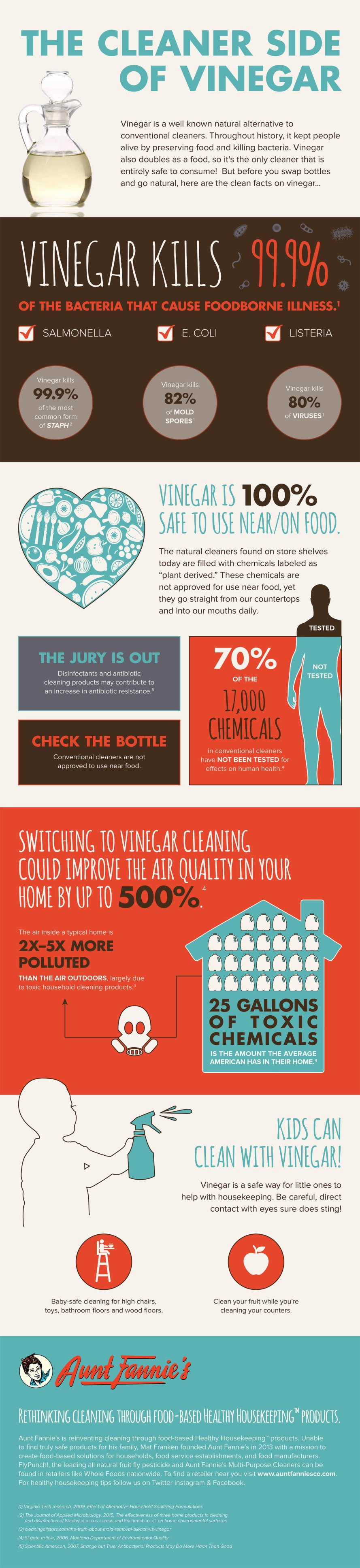 infographic, vinegar, cleaning with vinegar, vinegar bacteria, how to clean with vinegar, is vinegar safe, is vinegar sanitary, natural cleaning