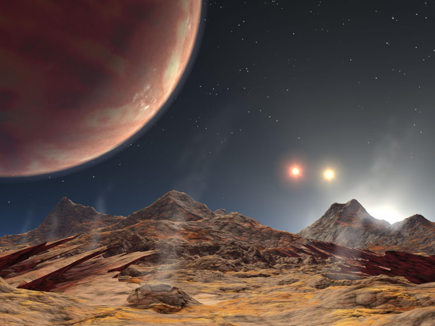 Astonomy, hot Jupiter, planets, three suns, KELT-4Ab, space