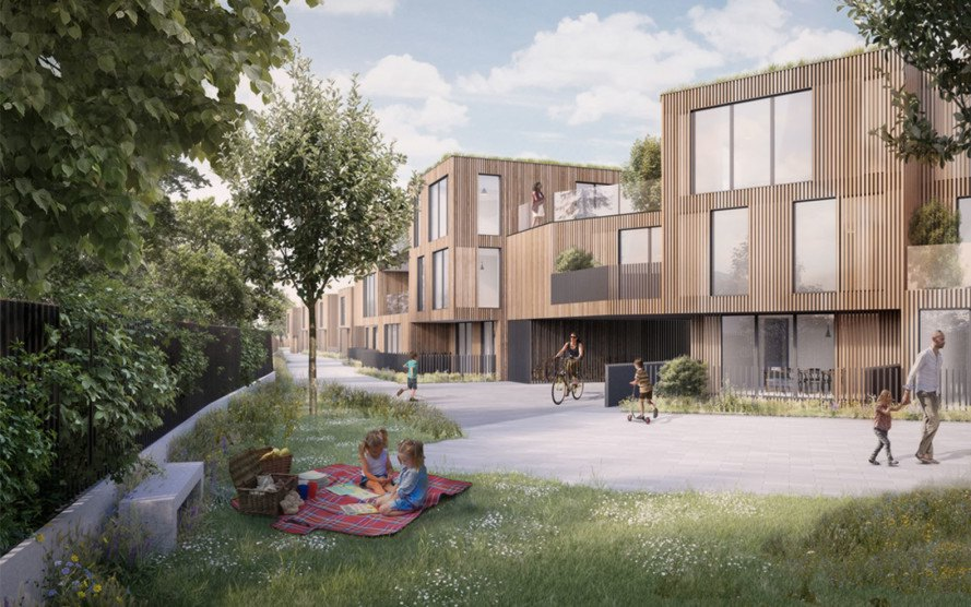 pH+ architects, Rosebank Works, London, green neighborhood, timber-clad homes in London, timber cladding, green master plan, green architecture