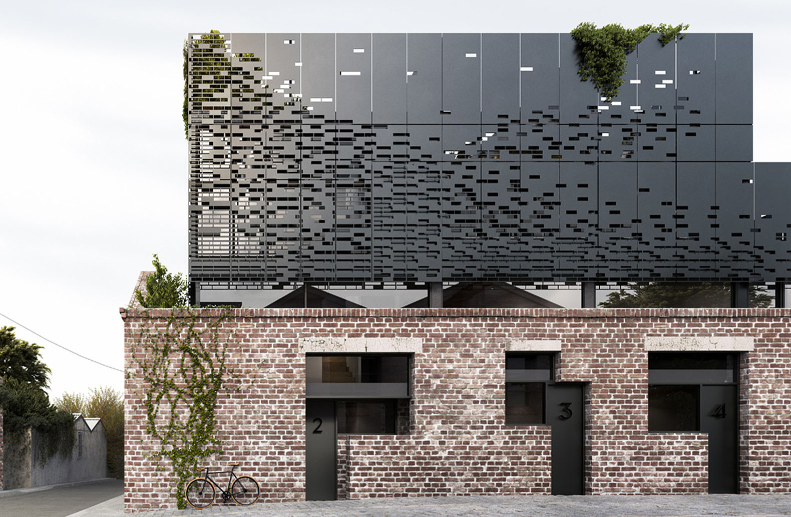 A black metal box hovers over a heritage brick building in for Archi facade