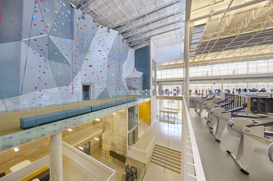 Active Living Centre, University of Manitoba Active Living Centre, Active Living Centre by Cibinel Architecture and Batteríið Architects, Batteríið Architects, Cibinel Architecture, architecture, design, sports facility design, gym design, sports facility architecture, gym architecture, indoor climbing wall, climbing wall