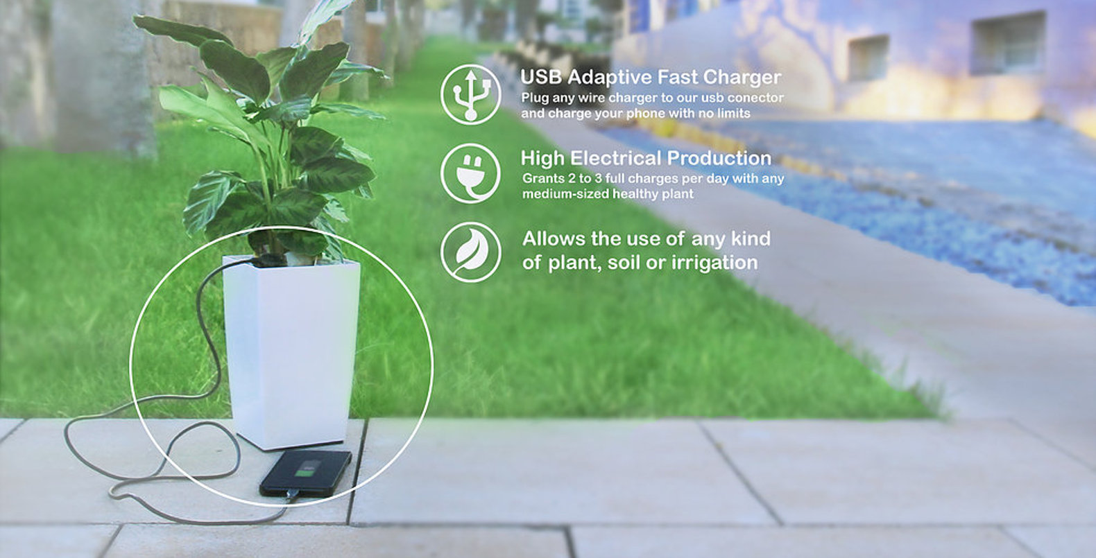 Bioo is the world's first planter that can charge your smartphone
