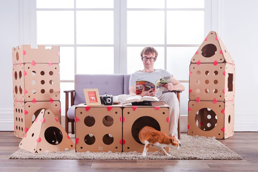 this modular cardboard cat house is the ultimate play. Black Bedroom Furniture Sets. Home Design Ideas