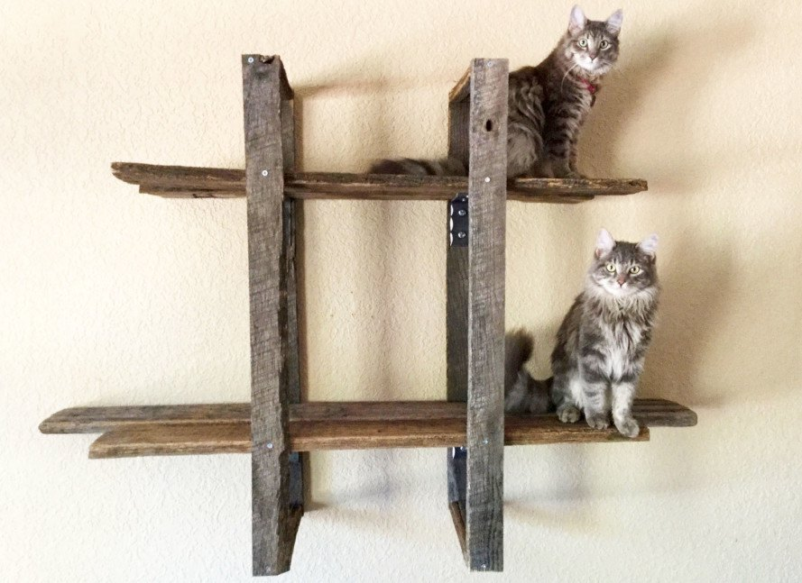 Reclaimed barn wood towers let cats climb high in style for Wooden cat tree designs