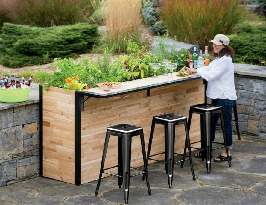 Reclaimed cedar outdoor bar, reclaimed wood, furniture design, outdoor wood furniture, reclaimed wood design, reclaimed wooden bar, wooden furniture, garden design, North American cedar, lumber mill trimmings, garden furniture, garden accessories