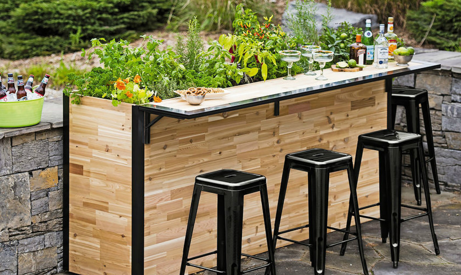 Plant A Bar: an outdoor bar made with reclaimed wood that ...