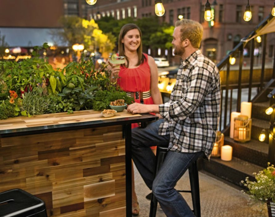 Plant a bar, reclaimed cedar outdoor bar, reclaimed wood, furniture design, outdoor wood furniture, reclaimed wood design, reclaimed wooden bar, wooden furniture, garden design, North American cedar, lumber mill trimmings, garden furniture, garden accessories