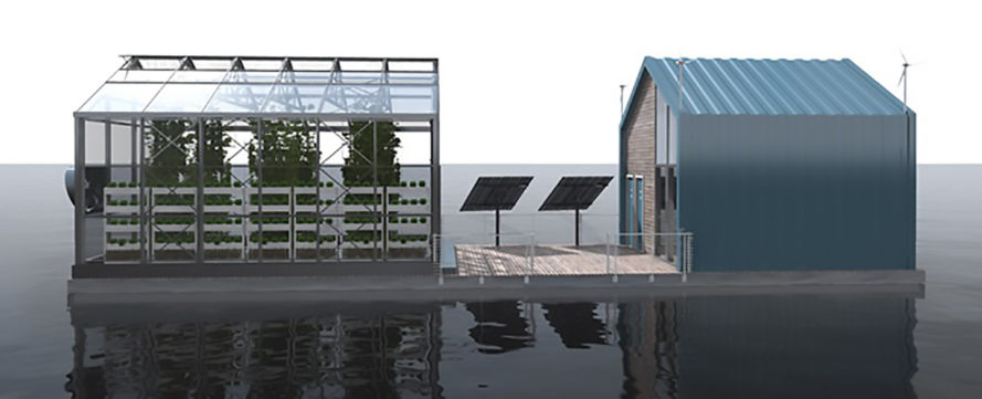 Eco Barge by Salt & Water, floating greenhouse, floating greenhouse on Danube River, clean energy architecture, Eco Barge on the Danube River
