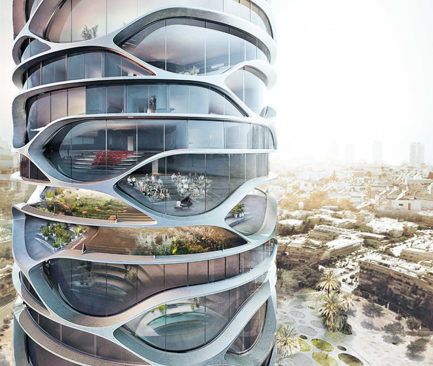 Gran Mediterraneo tower, green tower, Tel Aviv, glass skyscraper, Israel, David Tajchman, automated car park, automated parking, green skyscraper, green architecture, mirrored glass, community garden, driverless cars
