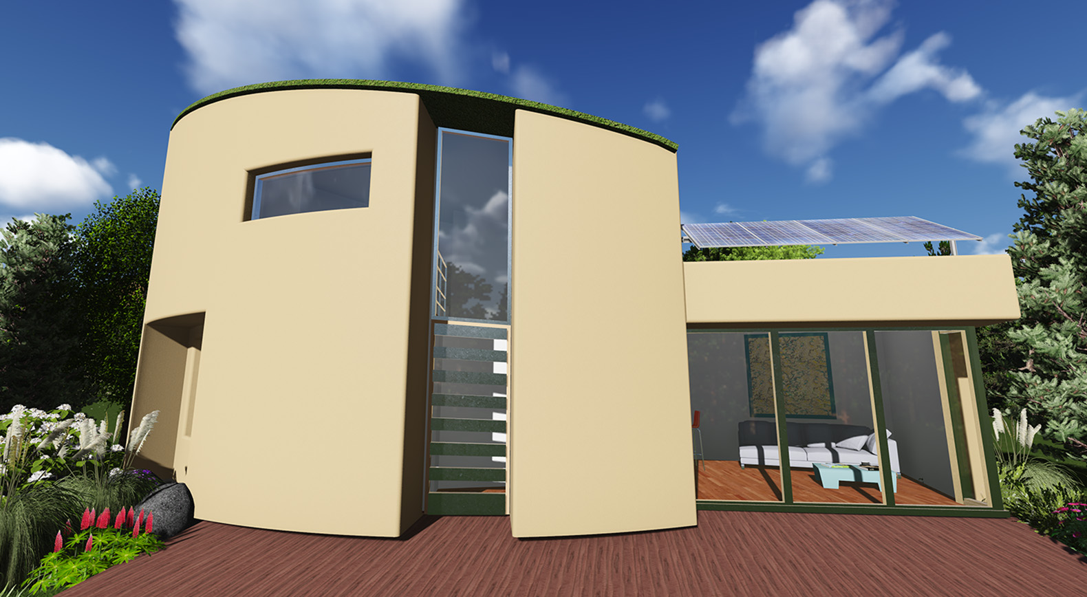 The Tiny Solar Powered Hemp Home With A Green Roof