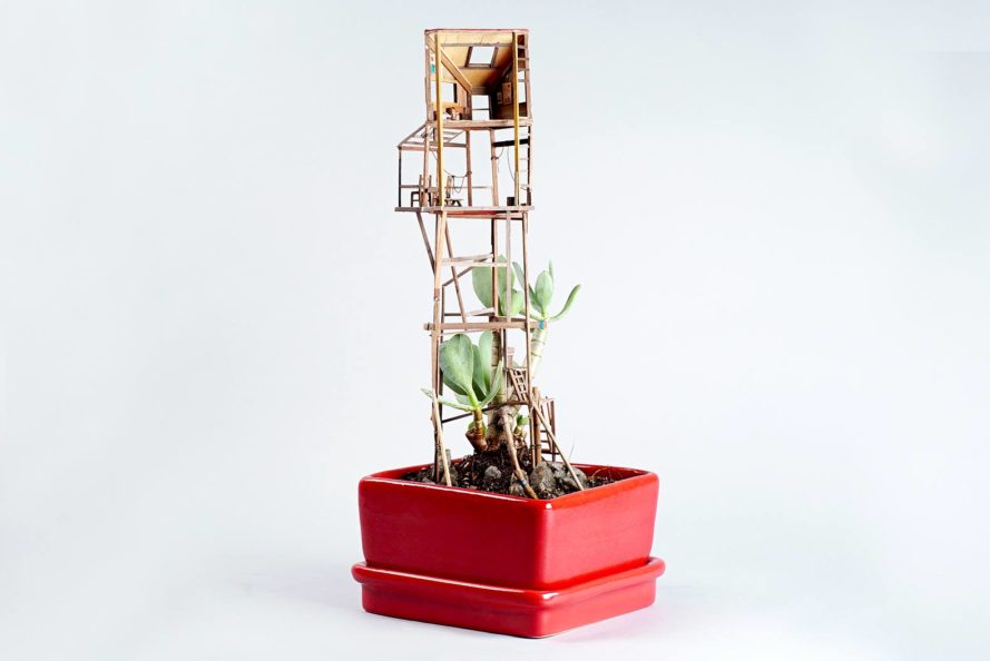 Jedediah Voltz, recycled tree house, miniature tree house, Somewhere Small, tree houses for houseplants, tiny treehouse, recycled materials,