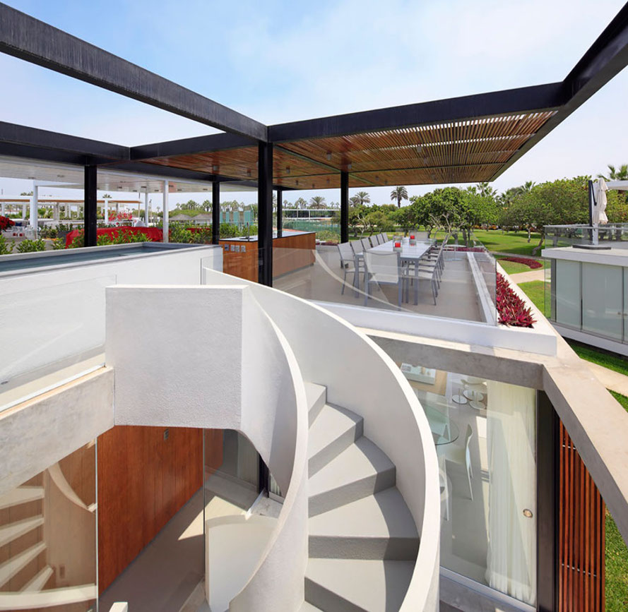 Extraordinary spiral staircase winds up to a killer for House floor plan with roof deck