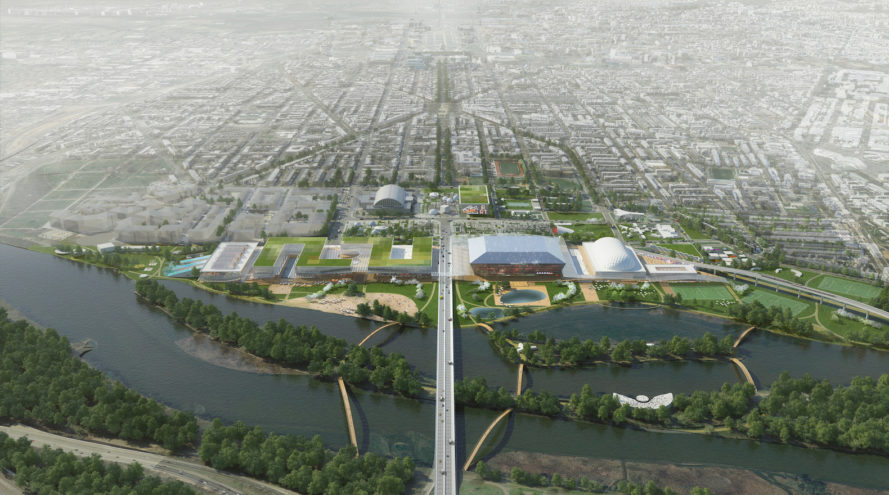 RFK Stadium redesign, RFK Campus Future by OMA, RFK Campus in DC, waterfront design in Washington DC, new stadium in Washington DC, urban design along the Anacostia River