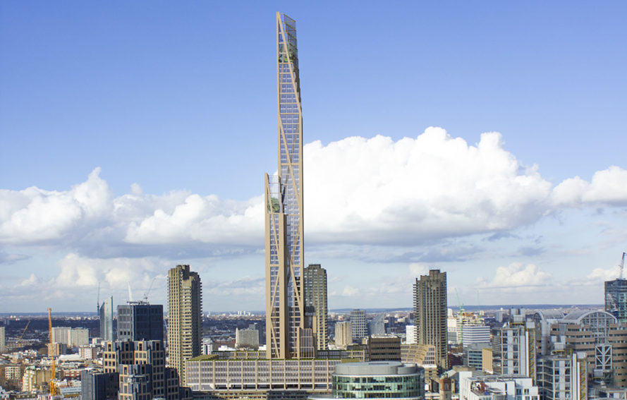 PLP Architecture, timber tower, timber-framed structures, timber frame, University of Cambridge, green architecture, wooden architecture, London, world's tallest building, lightweight building materials
