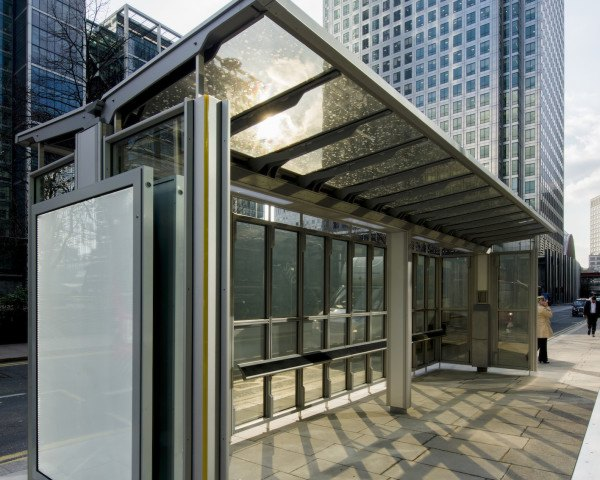 Canary Wharf Group solar project, solar bus shelter UK, solar bus shelter by Polysolar, solar bus shelter by Canary Wharf Group, transparent photovoltaics, transparent solar panels