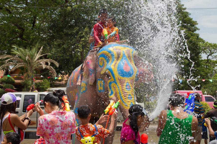Songkran, Thailand, water fight, world's largest water fight, water, drought, elephants