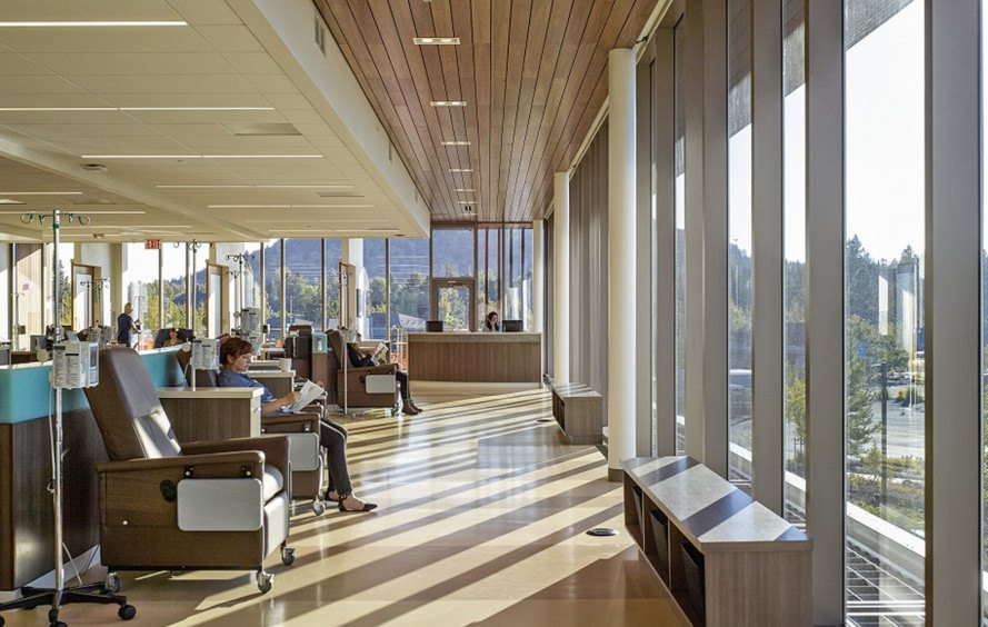 St Charles Bend Cancer Center, Oregon, cancer research center, outdoor infusion garden, research facility, ZGF Architects LLP, cancer research, green architecture, garden space, WAN Awards