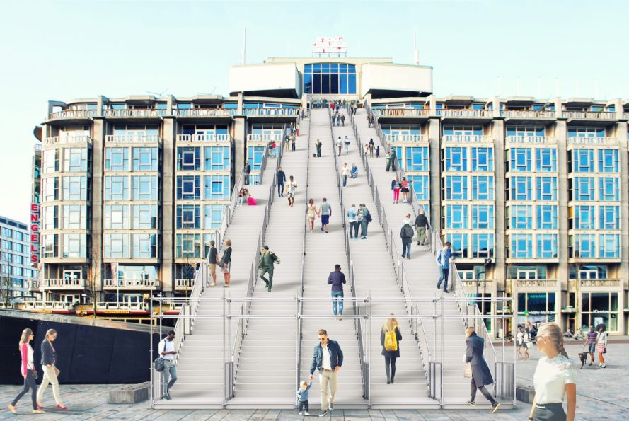 The Stairs by MVRDV, Rotterdam celebrates the city, Rotterdam 75th year of reconstruction, Groot Handelsgebouw, Rotterdam Central Station stairs, Rotterdam Central Station installation