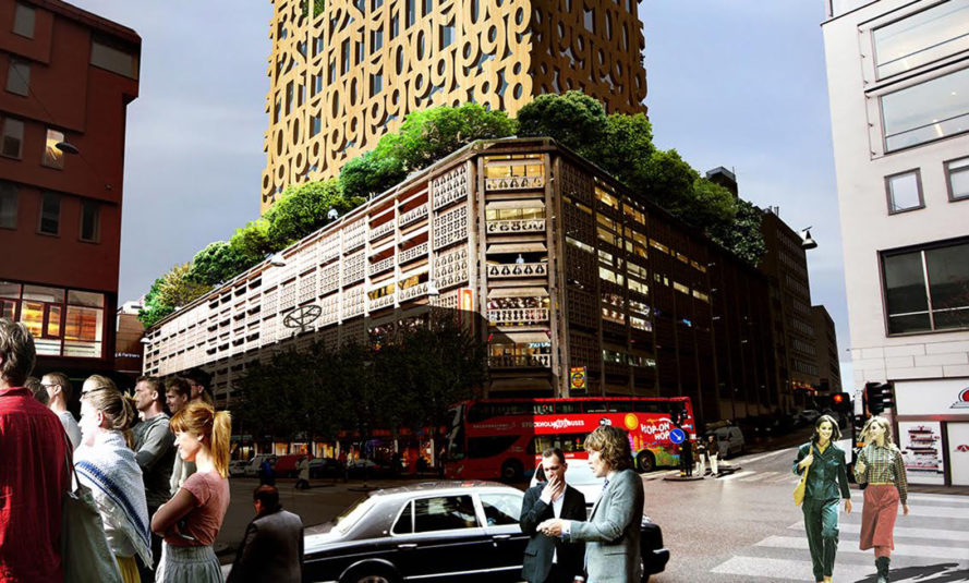 Anders Berensson Architects, Stockholm, wooden skyscraper, wooden structure, Sweden, wooden tower, wooden facade, cross-laminated timber, green architecture, rooftop terrace, solar gain, tall structures