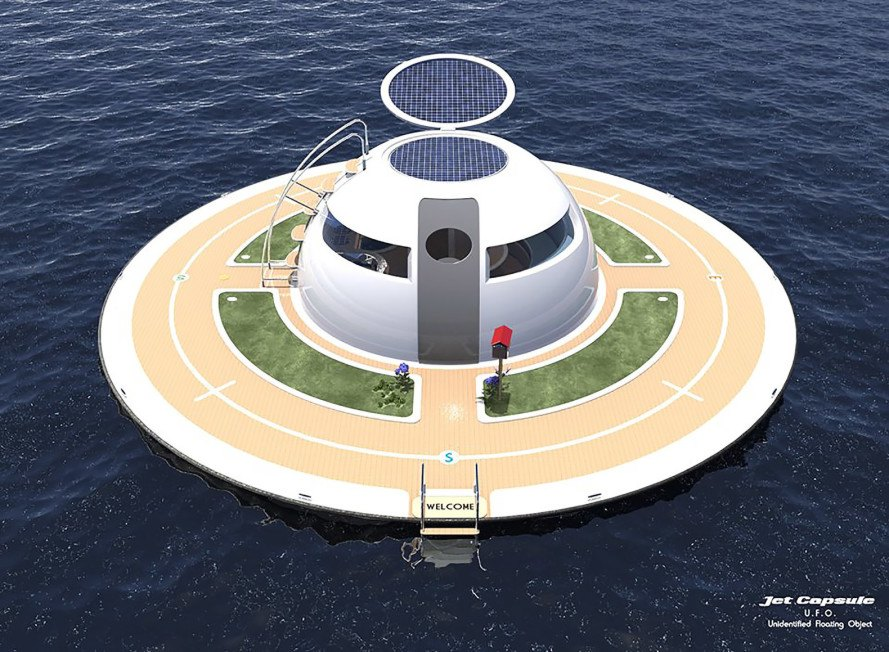 UFO, Unidentified Floating Object, UFO by Jet Capsule, Unidentified Floating Object by Jet Capsule, Jet Capsule, renewable energy, off the grid, solar power, ocean, sea, boat, boating
