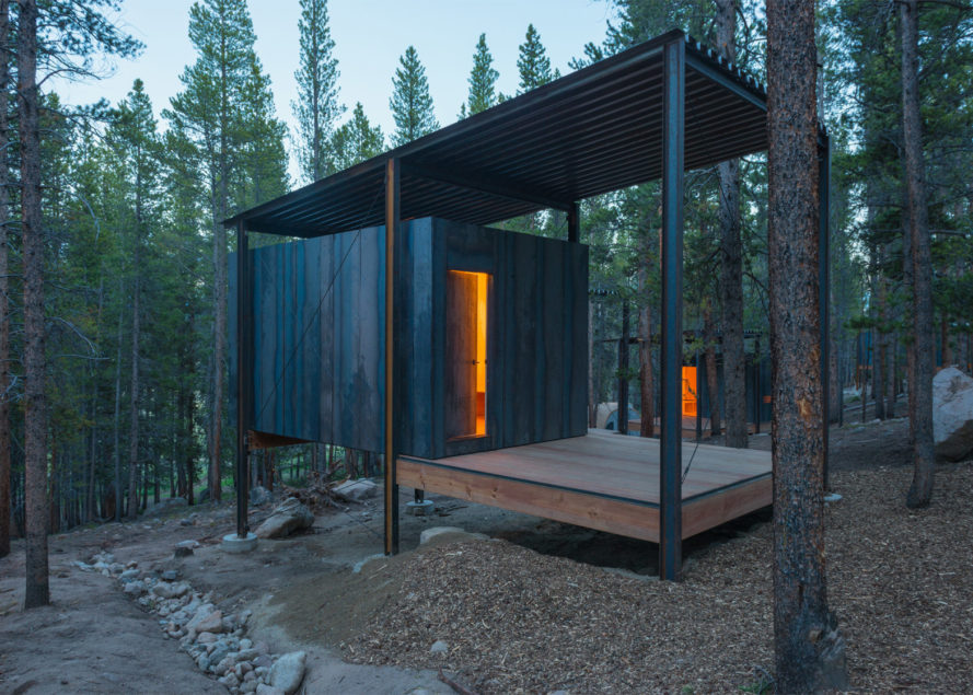 outward bound, cabins, university of colorado denver, architecture students, sustainable cabin, wood, steel, wilderness shelter, dormitories