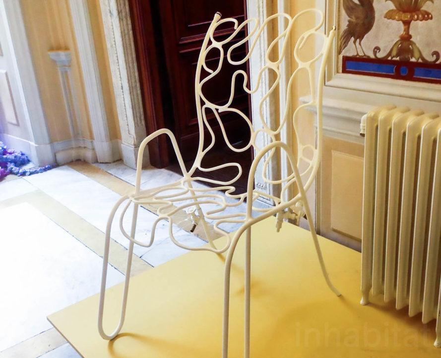 Warm Me Up Scottie by Fabrique Publique, Milan Design Fair chair, Scottie chair, hand bent hollow tube chair, tube chair, radiator chair, chair that warms up with hot water