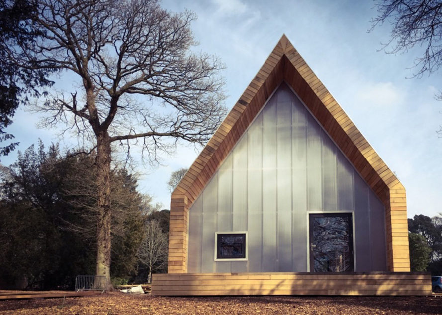 Wolfson Tree Management Center and Mess Building, The National Arboretum, Invisible Studio Architects, BuroHappold, timber structure, locally sourced timber, polycarbonate panels, natural light, pitched roof