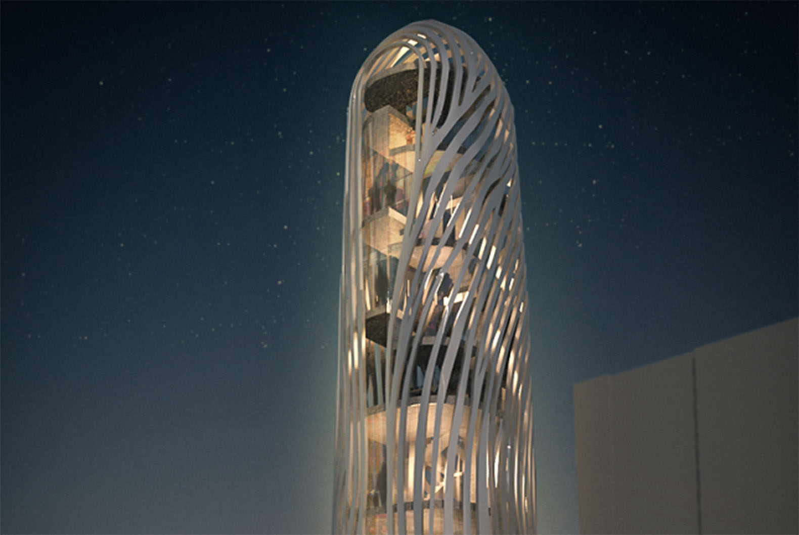 This swirling Seoul skyscraper is wrapped with the client's fingerprint