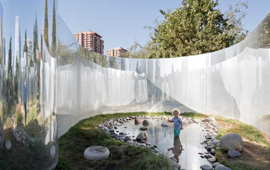 Your Reflection installation, art installation, Santiago, Chile, Guillermo Hevia García, Nicolás Urzúa Soler, 2015 Young Architects Program (YAP), concave structure, mirrored steel, green architecture