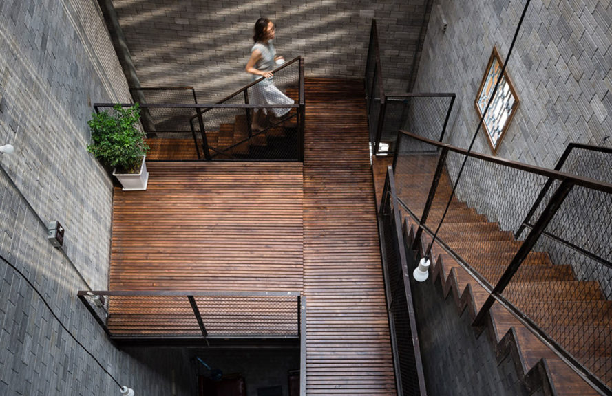 Zen House, H.A Architecture, Buddhist house, Ho Chi Minh City, Vietnam, tube houses, tube house, green architecture, natural light, atrium, skylight, concrete, timber louvers